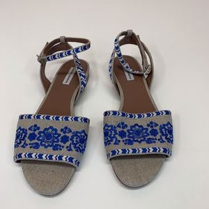 TABITHA SIMMONS Blue Tan Floral EMBROIDERY Sandals